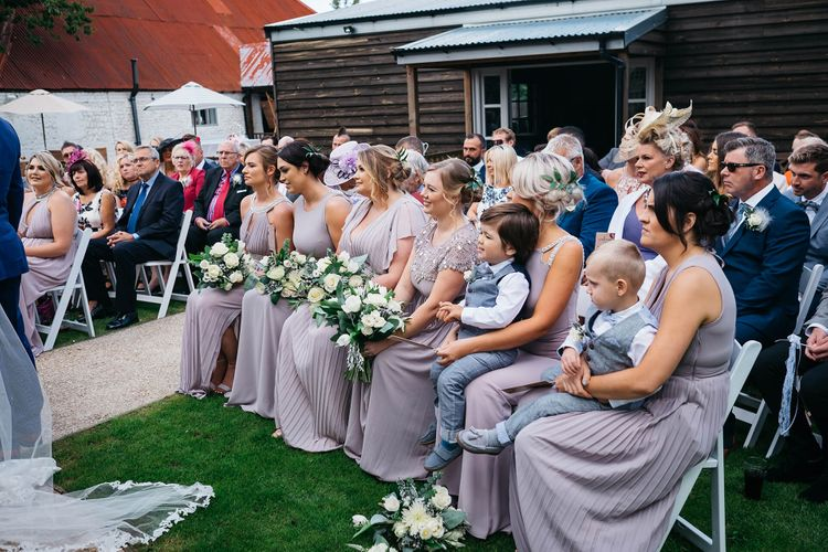 Wedding Ceremony   Bridesmaids in Lilac TFNC Dresses   White & Green Outdoor Wedding at The Red Barn, Kent   Olegs Samsonovs Photography
