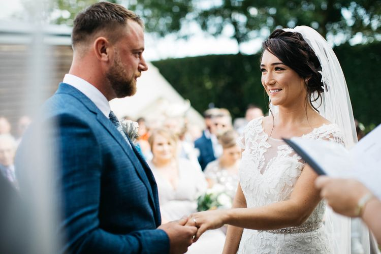 Wedding Ceremony   Bride in Justin Alexander Gown   Groom in Navy Check Hugo Boss Suit   White & Green Outdoor Wedding at The Red Barn, Kent   Olegs Samsonovs Photography