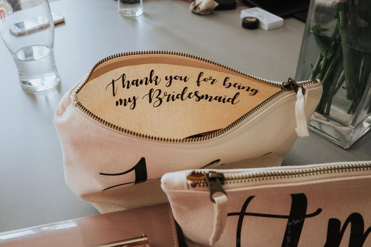 Thank You For Being My Bridesmaid Makeup Bag   White & Green Outdoor Wedding at The Red Barn, Kent   Olegs Samsonovs Photography
