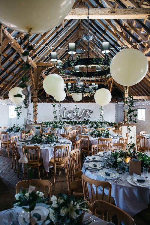 White & Green Barn Reception at The Red Barn, Kent with Balloon Decor   Olegs Samsonovs Photography