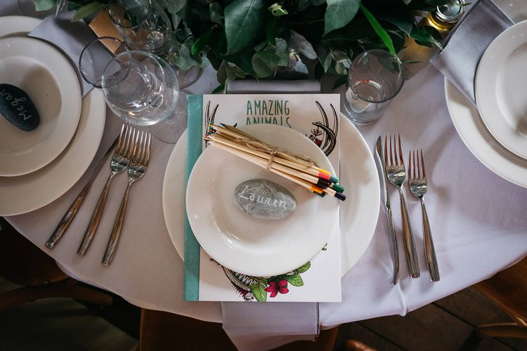 Kids Place Setting with Colouring Book & Pencils   White & Green Reception at The Red Barn, Kent   Olegs Samsonovs Photography