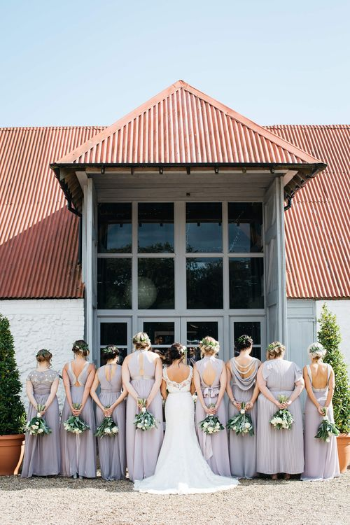 Bridesmaids in TFNC Bridesmaid Dresses   Bride in Justin Alexander Gown   White & Green Reception at The Red Barn, Kent   Olegs Samsonovs Photography