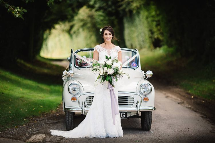 Wedding Car   Bride in Justin Alexander Gown   White & Green Reception at The Red Barn, Kent   Olegs Samsonovs Photography
