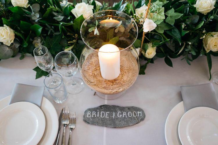 Hurricane Vase & Candle Wedding Decor   White & Green Reception at The Red Barn, Kent   Olegs Samsonovs Photography