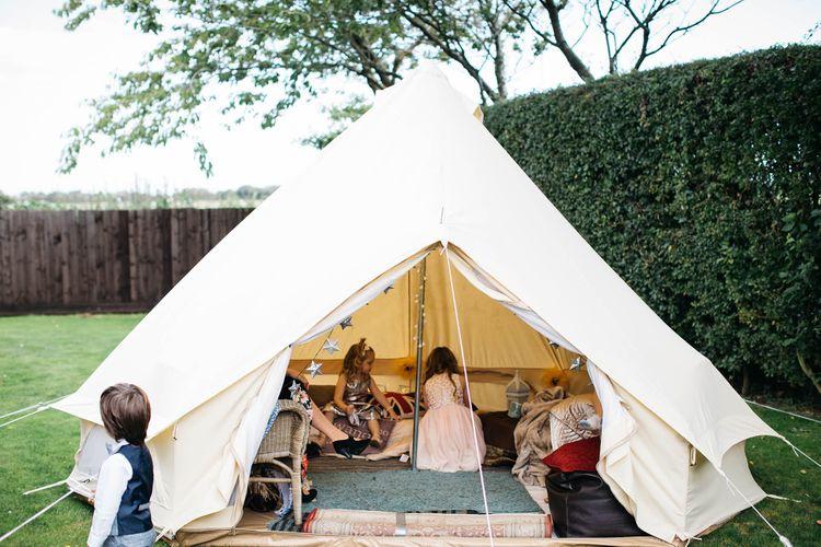 Kids Tipi   White & Green Reception at The Red Barn, Kent   Olegs Samsonovs Photography