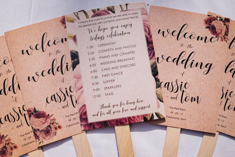 Fan Order of The Day Wedding Stationery   White & Green Reception at The Red Barn, Kent   Olegs Samsonovs Photography