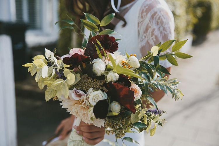 Gorgeous Plum Toned Wedding Bouquet by JamJar Flowers