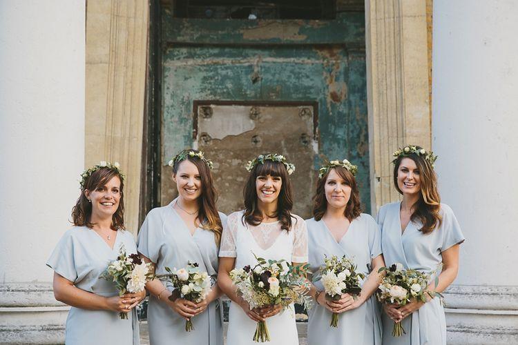 Bride In Charlie Brear Wedding Dress & Bridesmaids In Baby Blue Dresses