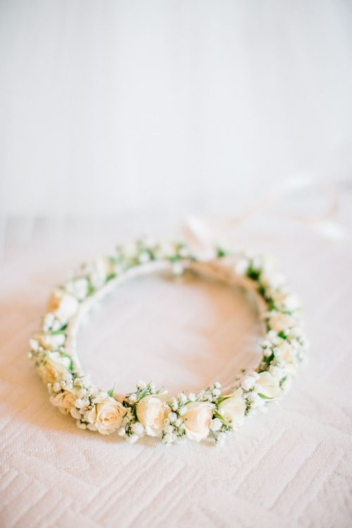 Delicate White Rose Flower Crown