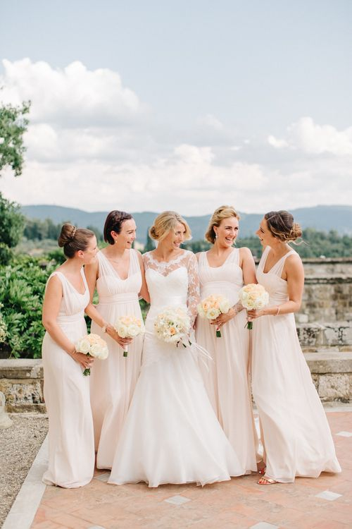 Bridesmaids in Peach Maids to Measure Dresses