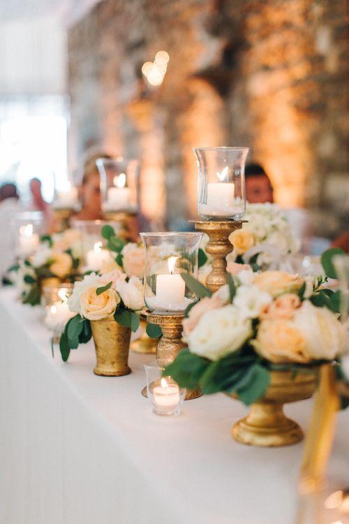 Candles & Peach Rose Wedding Decor
