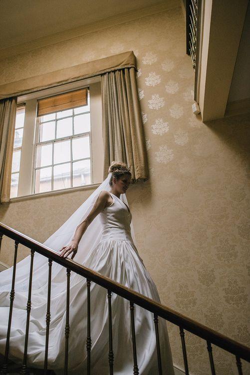 Bride in Dee Hutton Wedding Dress | Classic Blue & White Wedding at Prestwold Hall in Loughborough | Georgina Harrison Photography