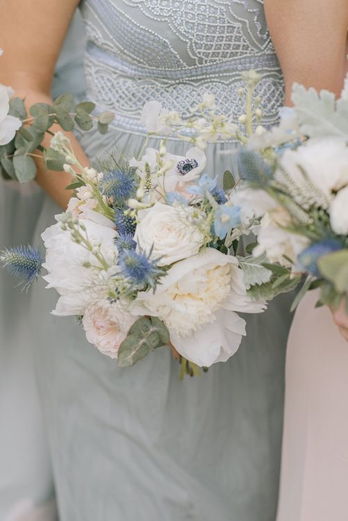 Delicate White & Blue Bouquet | Classic Blue & White Wedding at Prestwold Hall in Loughborough | Georgina Harrison Photography