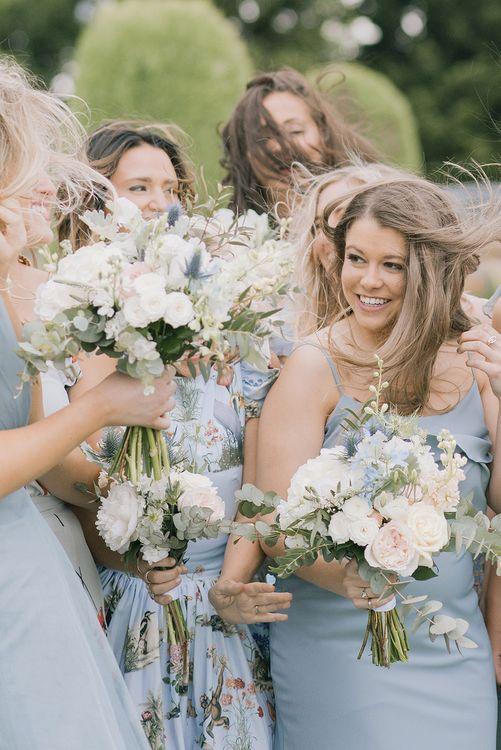 Bridesmaids | Classic Blue & White Wedding at Prestwold Hall in Loughborough | Georgina Harrison Photography