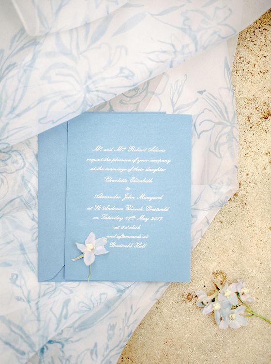 Pastel Blue Wedding Statioenry | Classic Blue & White Wedding at Prestwold Hall in Loughborough | Georgina Harrison Photography