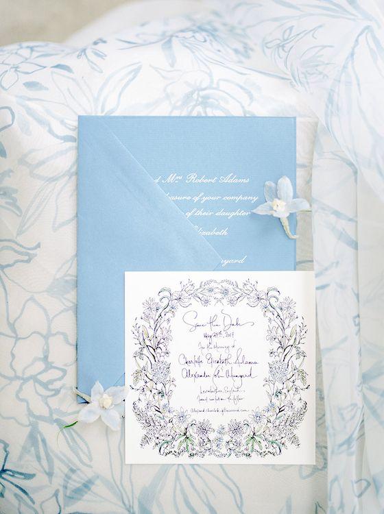 Pale Blue Wedding Stationery | Classic Blue & White Wedding at Prestwold Hall in Loughborough | Georgina Harrison Photography