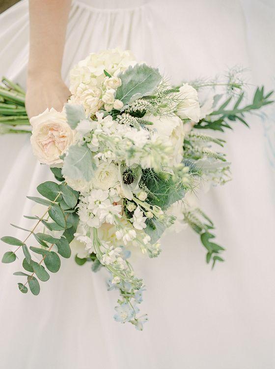 Romantic Bouquet | Classic Blue & White Wedding at Prestwold Hall in Loughborough | Georgina Harrison Photography