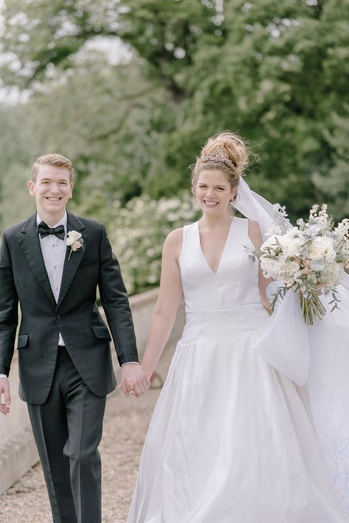 Bride in Dee Hutton Gown | Groom in Tuxedo | Classic Blue & White Wedding at Prestwold Hall in Loughborough | Georgina Harrison Photography