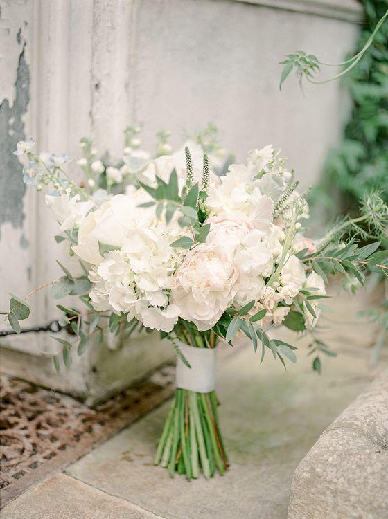 Romantic Wedding Bouquet | Classic Blue & White Wedding at Prestwold Hall in Loughborough | Georgina Harrison Photography