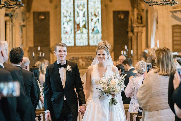 Church Wedding Ceremony | Classic Blue & White Wedding at Prestwold Hall in Loughborough | Georgina Harrison Photography
