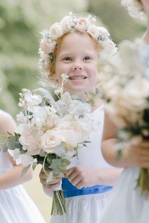 Flower Crown | Classic Blue & White Wedding at Prestwold Hall in Loughborough | Georgina Harrison Photography