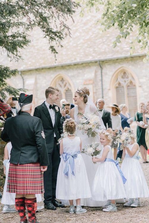 Bride, Groom & Flower Girls | Classic Blue & White Wedding at Prestwold Hall in Loughborough | Georgina Harrison Photography