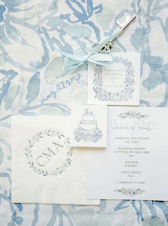 Hand Printed Wedding Stationery | Classic Blue & White Wedding at Prestwold Hall in Loughborough | Georgina Harrison Photography
