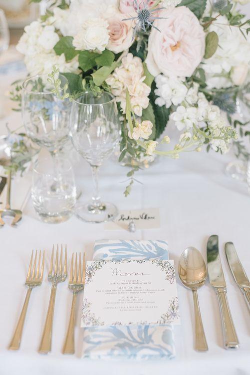 Elegant Place Setting | Classic Blue & White Wedding at Prestwold Hall in Loughborough | Georgina Harrison Photography
