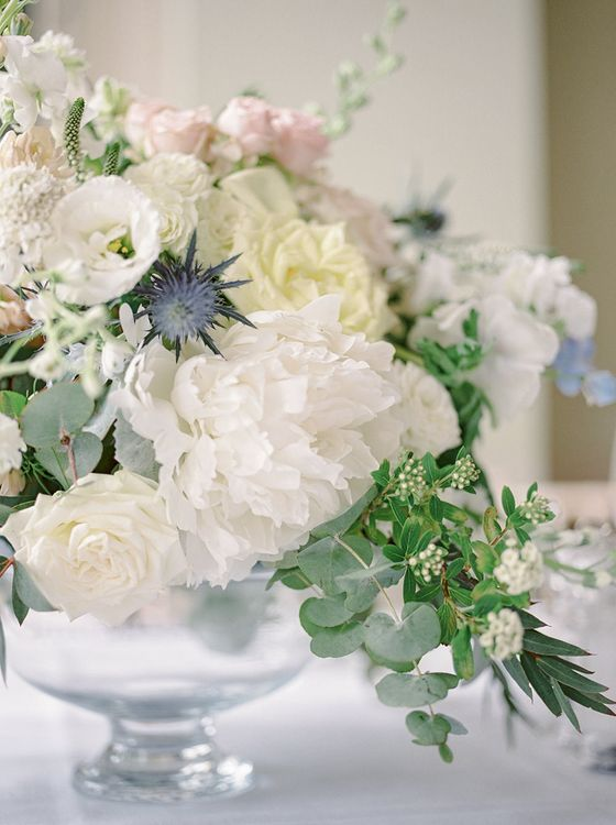 Floral Centrepiece | Classic Blue & White Wedding at Prestwold Hall in Loughborough | Georgina Harrison Photography