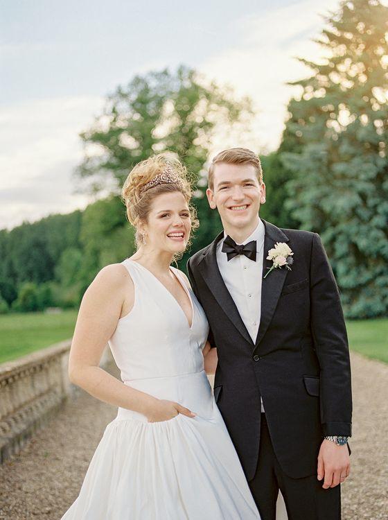 Bride in Dee Hutton Wedding Dress | Groom in Black Tuxedo | Classic Blue & White Wedding at Prestwold Hall in Loughborough | Georgina Harrison Photography
