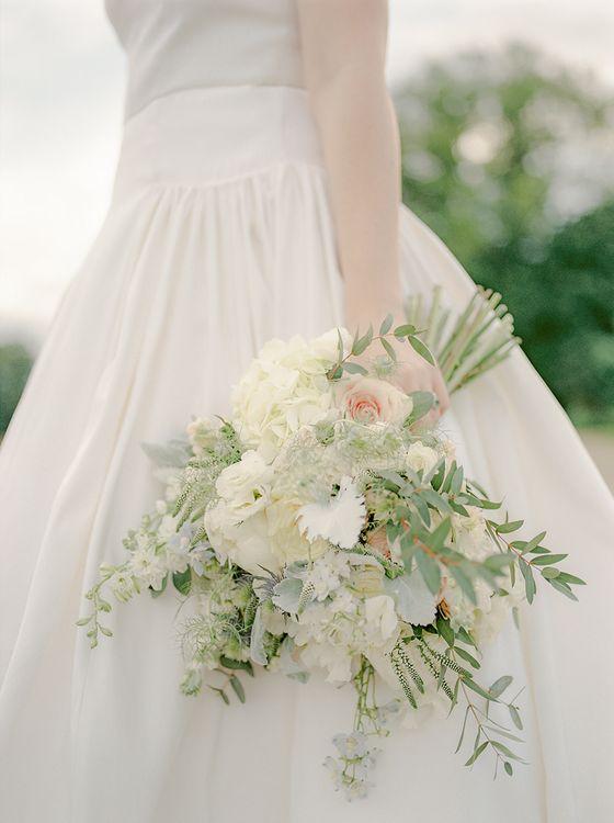 Romantic Bouquet | Bride in Dee Hutton Wedding Dress | Classic Blue & White Wedding at Prestwold Hall in Loughborough | Georgina Harrison Photography