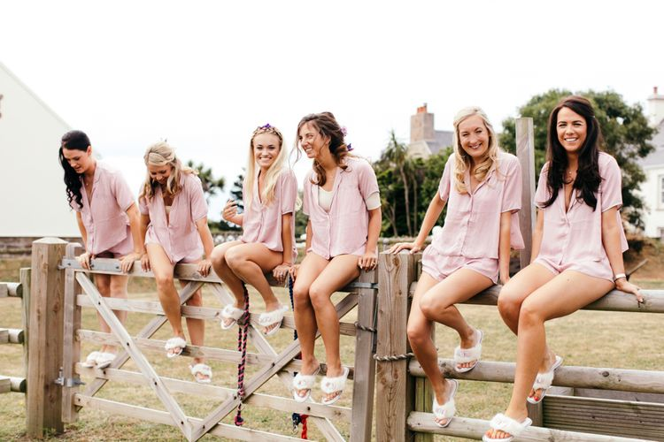 Beautiful Bridesmaids In Matching Pink Loungewear
