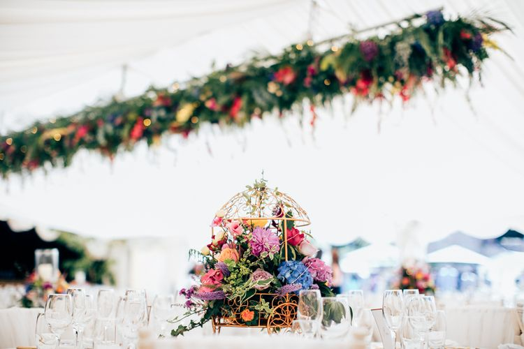 Hanging Floral Arrangements For A Marquee Wedding