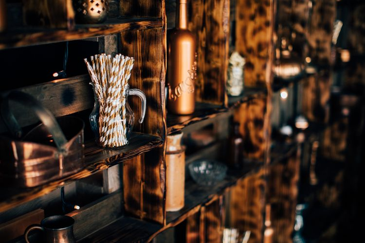 Copper And Wood Wedding Decor