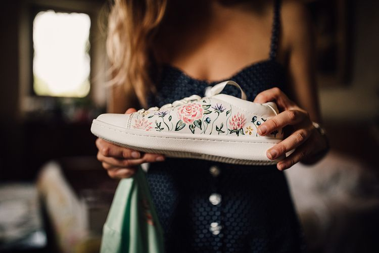 Hand Painted Wedding Trainers | Outdoor Destination Wedding at Château De Malliac Planned by Country Weddings in France | Styling by The Hand-Painted Bride | Samuel Docker Photography | Marriage in Motion Films