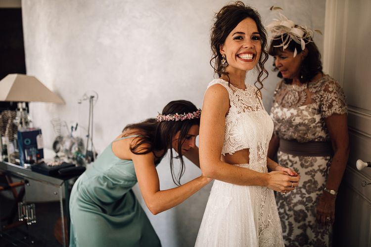 Bride in Yolan Cris Lace Gown | Wedding Morning Preparations | Outdoor Destination Wedding at Château De Malliac Planned by Country Weddings in France | Styling by The Hand-Painted Bride | Samuel Docker Photography | Marriage in Motion Films