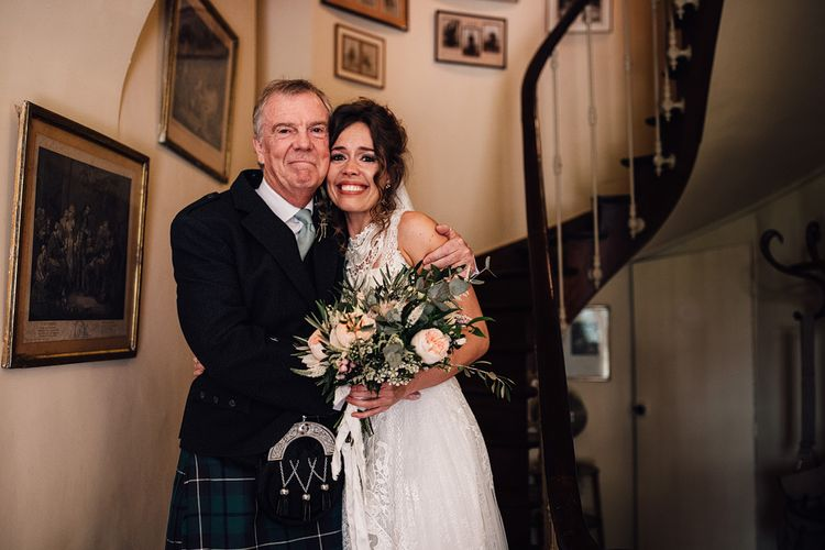 Father of the Bride & Daughter Moment | Outdoor Destination Wedding at Château De Malliac Planned by Country Weddings in France | Styling by The Hand-Painted Bride | Samuel Docker Photography | Marriage in Motion Films