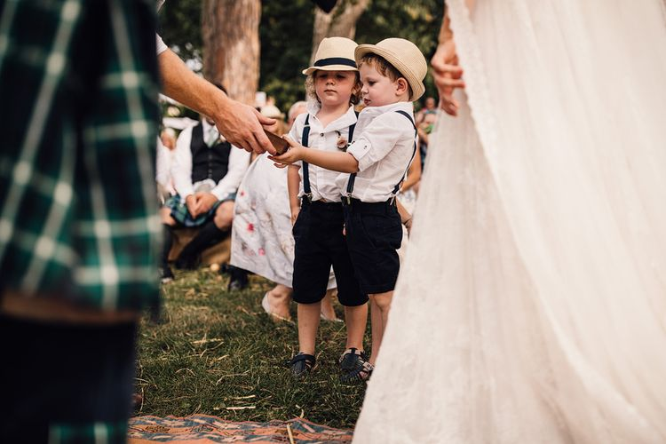Wedding Ceremony | Page Boys | Outdoor Destination Wedding at Château De Malliac Planned by Country Weddings in France | Styling by The Hand-Painted Bride | Samuel Docker Photography | Marriage in Motion Films