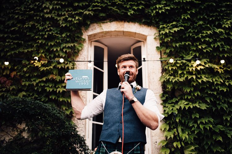 Wedding Speeches | Groom in Tartan Kilt | Outdoor Destination Wedding at Château De Malliac Planned by Country Weddings in France | Styling by The Hand-Painted Bride | Samuel Docker Photography | Marriage in Motion Films