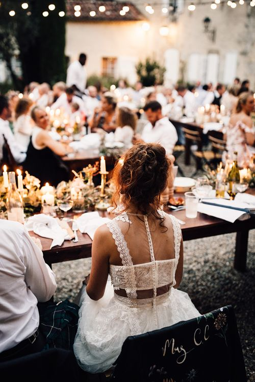 Bride in Yolan Cris Lace Gown | Outdoor Destination Wedding at Château De Malliac Planned by Country Weddings in France | Styling by The Hand-Painted Bride | Samuel Docker Photography | Marriage in Motion Films