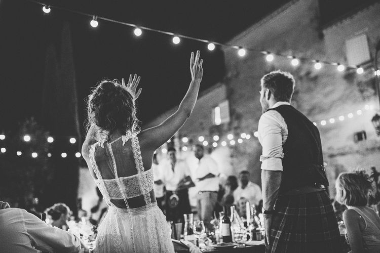 Bride in Yolan Cris Lace Gown | Groom in Tartan Kilt | Outdoor Destination Wedding at Château De Malliac Planned by Country Weddings in France | Styling by The Hand-Painted Bride | Samuel Docker Photography | Marriage in Motion Films