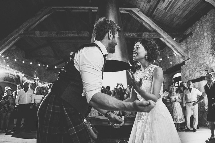 First Dance | Bride in Yolan Cris Lace Gown | Groom in Tartan Kilt | Outdoor Destination Wedding at Château De Malliac Planned by Country Weddings in France | Styling by The Hand-Painted Bride | Samuel Docker Photography | Marriage in Motion Films