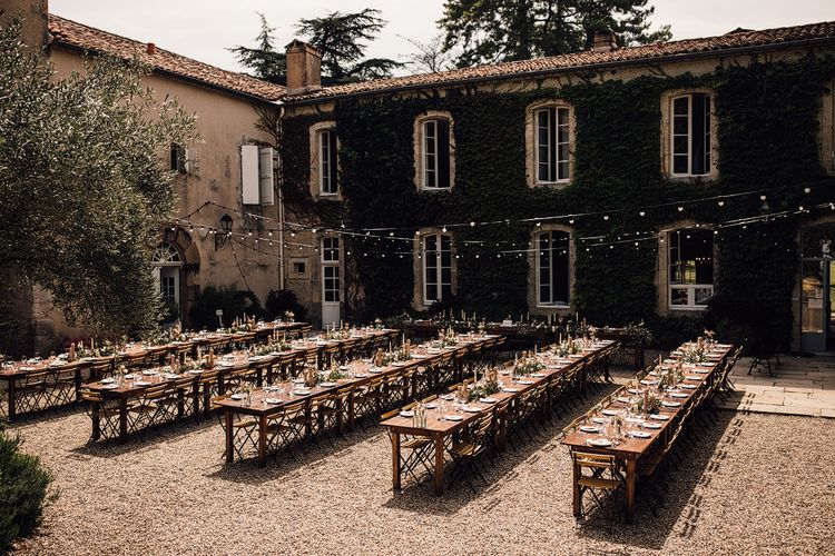 Outdoor Destination Wedding at Château De Malliac Planned by Country Weddings in France | Styling by The Hand-Painted Bride | Samuel Docker Photography | Marriage in Motion Films