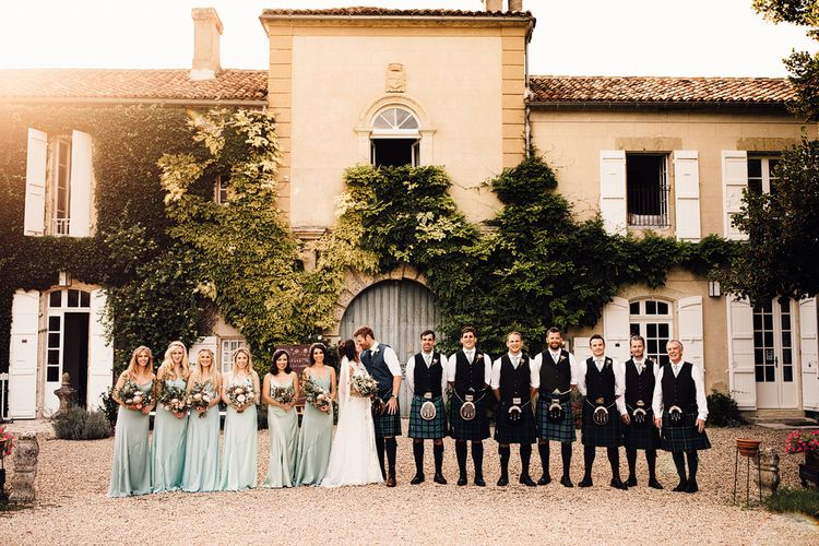 Wedding Party Portrait | Outdoor Destination Wedding at Château De Malliac Planned by Country Weddings in France | Styling by The Hand-Painted Bride | Samuel Docker Photography | Marriage in Motion Films