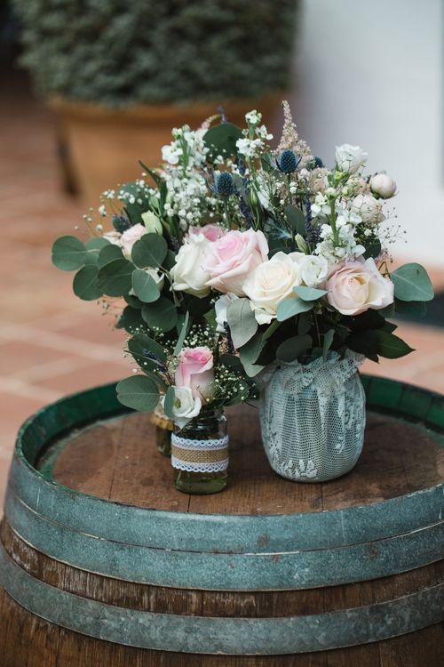 Romantic Wedding Flowers in Jars   Planned by Rachel Rose Weddings   Radka Horvath Photography