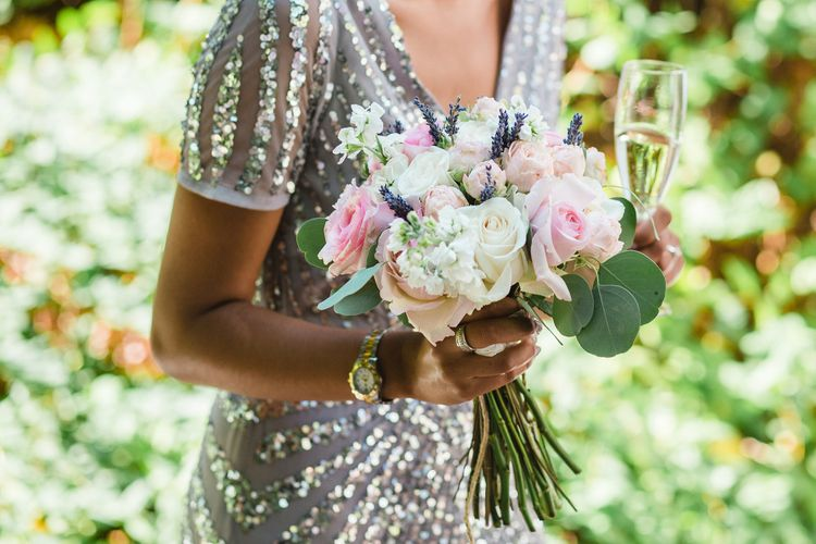 Bridesmaid in Sequin ASOS Gown   Blush Bouquet   Planned by Rachel Rose Weddings   Radka Horvath Photography