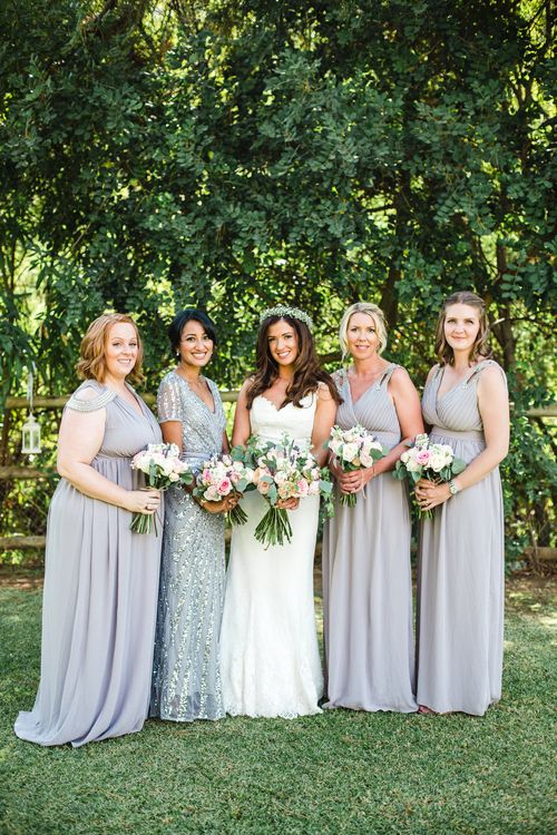 Bride in Sottero & Midgley Bridal Gown   Bridesmaids in Grey Chiffon & Sequin ASOS Dresses   Planned by Rachel Rose Weddings   Radka Horvath Photography