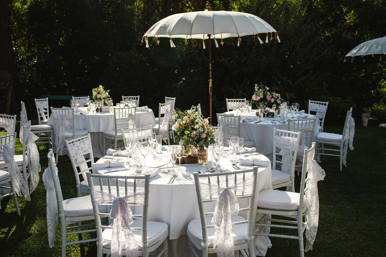 Romantic Outdoor Reception at Casa Del Rio Spain with Parasol Decor   Planned by Rachel Rose Weddings   Radka Horvath Photography