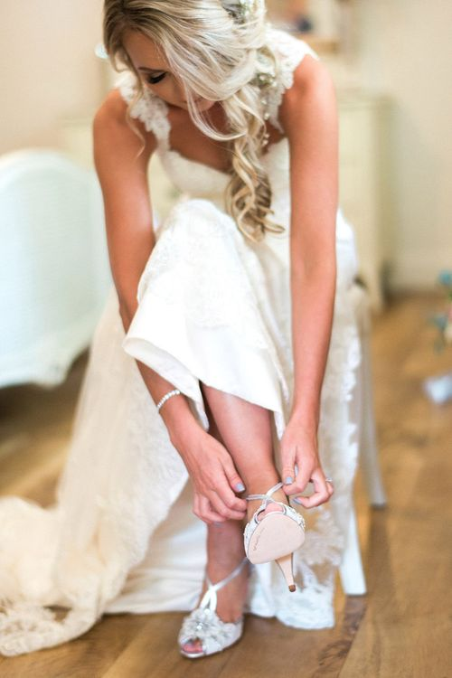 Bridal Preparations | Rachel Simpson 'Charlotte' Wedding Shoes | Pink & Coral Country Wedding at Crabbs Barn, Essex | Kathryn Hopkins Photography | Film by Colbridge Media Services Ltd