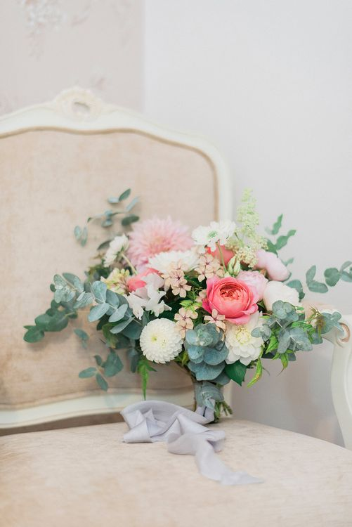 Romantic Bridal Bouquet with Roses, Dahlias & Eucalyptus | Pink & Coral Country Wedding at Crabbs Barn, Essex | Kathryn Hopkins Photography | Film by Colbridge Media Services Ltd